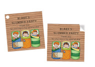 Boys Only Sleepover Slumber  Personalised Party Stickers, Labels and Tags.