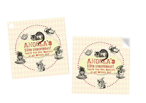 Mad Hatters Tea Party Personalised Party Stickers, Labels and Tags.