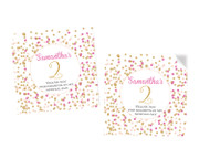Pink & Gold Confetti Party Personalised Party Stickers, Labels and Tags.