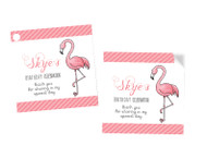 Pink Flamingo Party Personalised Party Stickers, Labels and Tags.