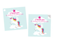 Unicorn Party Personalised Party Stickers, Labels and Tags.