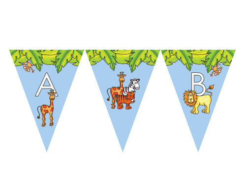 Monkey Jungle Animals Party Personalised Bunting Decoration Flags.