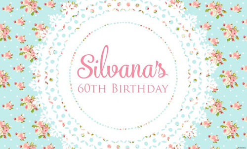 Blue Shabby Chic Vintage Birthday Party Posters, Banners and Backdrops