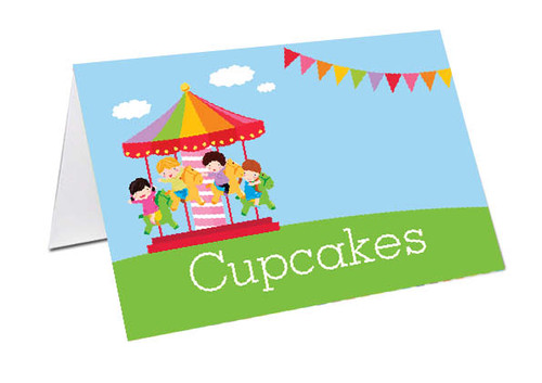Carnival Carousel Personalised Name Cards, Place Cards & Buffet Cards.