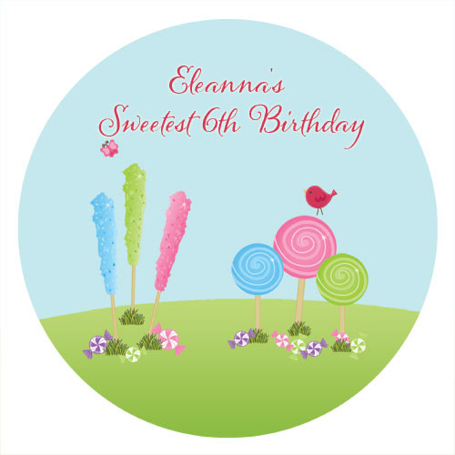 Candyland Birthday Cake Icing & Personalised cake, cookie & cupcake icing sheets.