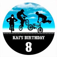 Birthday Cake Edible Image - BMX Bike Blue