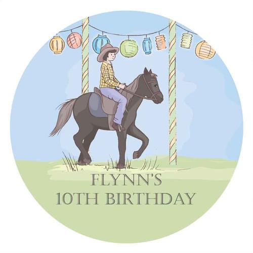 Boys Pony Party Personalised Birthday Cake Edible Image, Cake Icing.