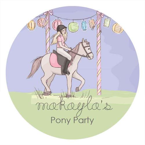 Girls Pony Party Personalised Birthday Cake Edible Image, Cake Icing.