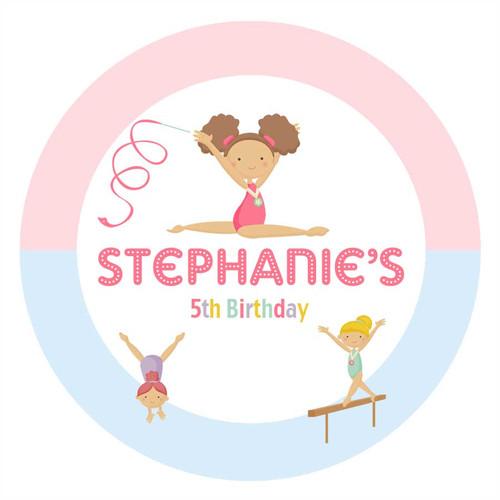 Girls Gymnastics Birthday Party Personalised Birthday Cake Edible Image, Cake Icing.