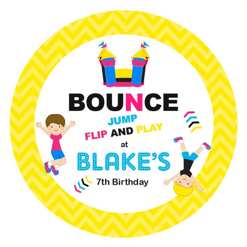 Bounce Jump Birthday Party Personalised Birthday Cake Edible Image, Cake Icing. Printed in Australia