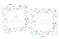 Pink & Aqua Confetti Birthday Party Invitations.