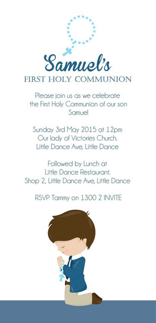 holy communion invitations boys blue first communion