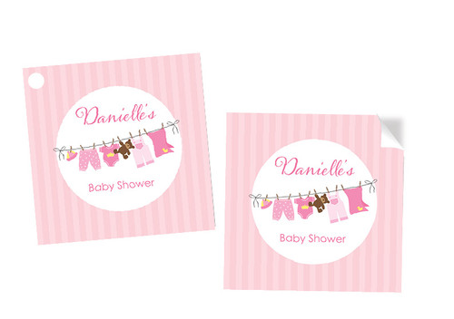 Pink Baby Clothesline Square Personalised Stickers, Labels and Tags.