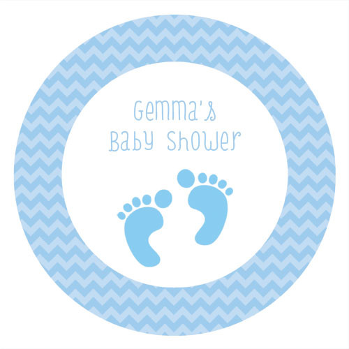 Blue Footprints Personalised Customised Baby Shower Cake Icing - Edible Images.
