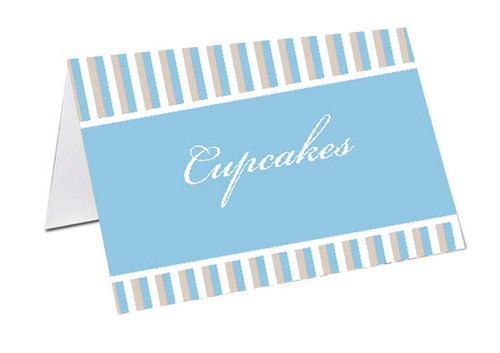 Striped Boy Baby Shower Personalised Baby Shower Place Cards, Buffet Cards & Name Cards.