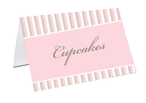 Striped Girl Baby Shower Personalised Baby Shower Place Cards, Buffet Cards & Name Cards.