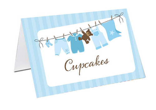 Blue Baby Clothesline Baby Shower Personalised Baby Shower Place Cards, Buffet Cards & Name Cards.