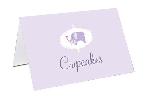 Purple Baby Elephant Baby Shower Personalised Baby Shower Place Cards, Buffet Cards & Name Cards.