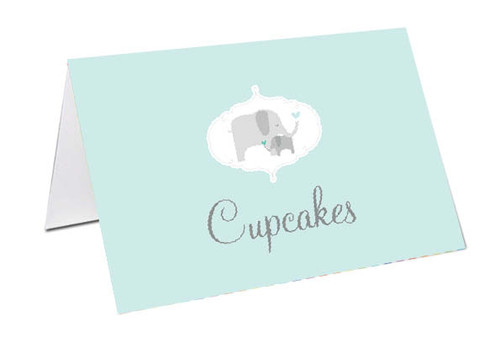Green Baby Elephant Baby Shower Personalised Baby Shower Place Cards, Buffet Cards & Name Cards.