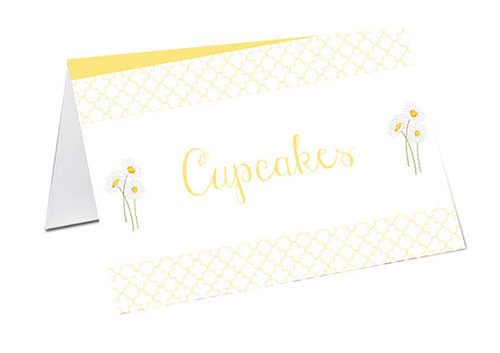 Yellow Daisies Baby Shower Personalised Baby Shower Place Cards, Buffet Cards & Name Cards.