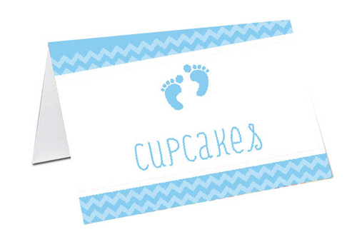 Blue Footprints Baby Shower Personalised Baby Shower Place Cards, Buffet Cards & Name Cards.