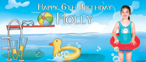 Pool Party Personalised Birthday Banner.