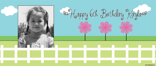 Hello Springtime Party Personalised Birthday Banner.