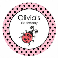 Pink Ladybug Ladybird Birthday Cake Edible Image Icing Sheet.