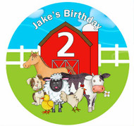 Farmyard Animals Personalised Birthday Cake Icing Sheet - Edible Image.