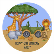 Jungle Safari Animals Personalised Birthday Cake Icing Sheet - Edible Image.