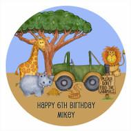 Jungle Safari Animals Personalised Birthday Cake Icing Sheet - Edible Image.