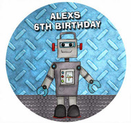 Robot Personalised Birthday Cake Icing Sheet - Edible Image.