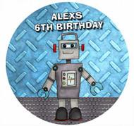 Robot Personalised Birthday Cake Icing Sheet - Edible Image.