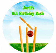 Sports Cricket Personalised Birthday Cake Icing Sheet - Edible Image.