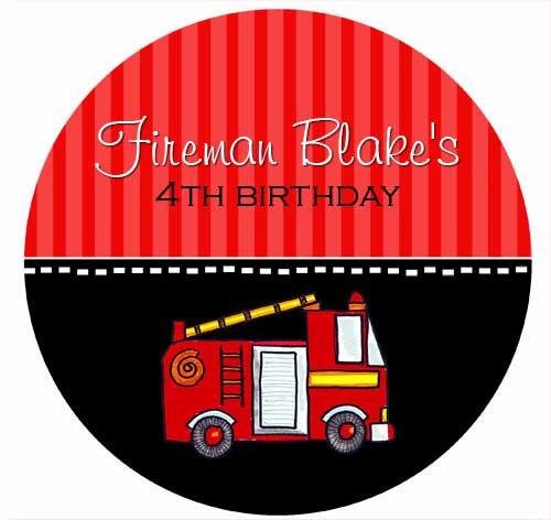 Fireman Fire Engine Personalised Birthday Cake Icing Sheet - Edible Image.