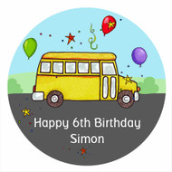 Party Bus Personalised Birthday Cake Icing Sheet - Edible Image.
