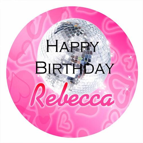 Pink Disco Hip Hop Personalised Birthday Cake Icing Sheet - Edible Image.