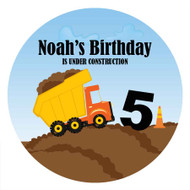 Birthday Cake Edible Image - Construction Truck.