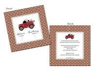 Vintage Fire Truck on Brick Background Birthday Party Invitations.