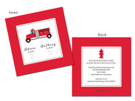 Red Fire Engine Fire Truck Birthday Party Invitations.