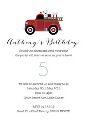 Red Vintage Fire Engine Fire Truck Birthday Party Invitations.