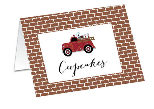 Vintage Fire Engine Personalised Buffet Cards, Place Cards & Name Cards.