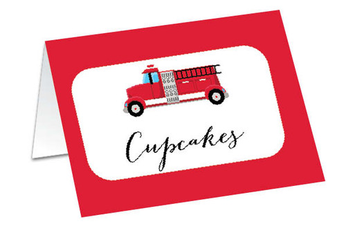 Red Fire Engine Personalised Buffet Cards, Place Cards & Name Cards.