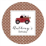 Vintage Fire Engine Party Labels & Stickers and Stickers.