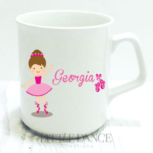 Little Ballet Ballerina Personalised Coffee Drinking Mugs.