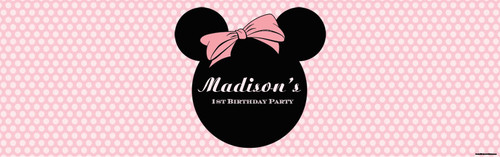 Minnie Mouse Pink Polka Dot Birthday Party Banner.