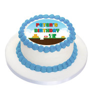 Mario Bros Party Personalised Birthday Cake Icing.