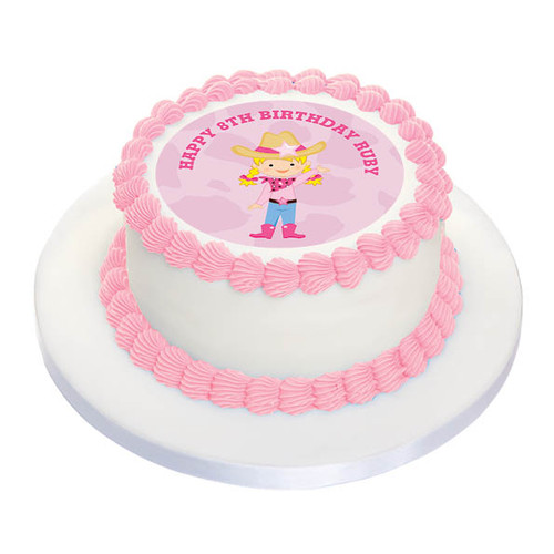 Cowgirl Party Personalised Birthday Cake Icing.