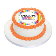 Birthday Cake Edible Image - Rainbow Stripe