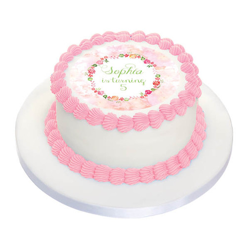Floral Watercolour Party Personalised Birthday Cake Icing.